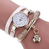 EARS Uhren Damen Frauen Leder Strass Analog Quarz Armbanduhren Geflochten Günstige Wasserdicht Beliebte Casual Quarz Uhr Luxus Armband Coole Uhren Lederarmband Mädchen Frau Uhr (Weiß)