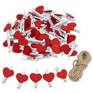 Keesin Photo Clips Naturel Mini Pinces à linge papier photo en bois à pinces à linge en forme de cœur DIY Craft Clips avec 10m Ficelle de jute 50pcs Red Heart-50PCS