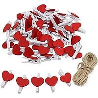 keesin foto Clips Clothespins Mini madera Natural Papel fotográfico pinzas con forma de corazón DIY Craft Clips con 10m yute Twine 50pcs Red Heart-50PCS