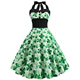 Oliviavan Kleider,St. Patrick's Day - Halfter-Shamrock-Print für Frauen Ärmelloses Kleid Elegant Abendkleid Ballkleid Cocktailkleid Partykleid Retro Dress Festlich