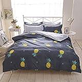 Bettwäsche Bettbezug Blue & Gray Bunt Polyester-Baumwolle Kissenbezug Bettdecke 200x200 cm (Ananas, 220x240cm)