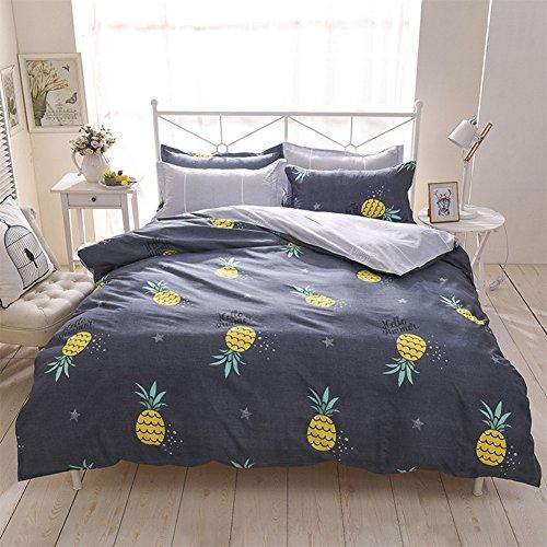 Preisvergleich Produktbild Bettwäsche Bettbezug Blue & Gray Bunt Polyester-Baumwolle Kissenbezug Bettdecke 200x200 cm (Ananas, 135x200cm)