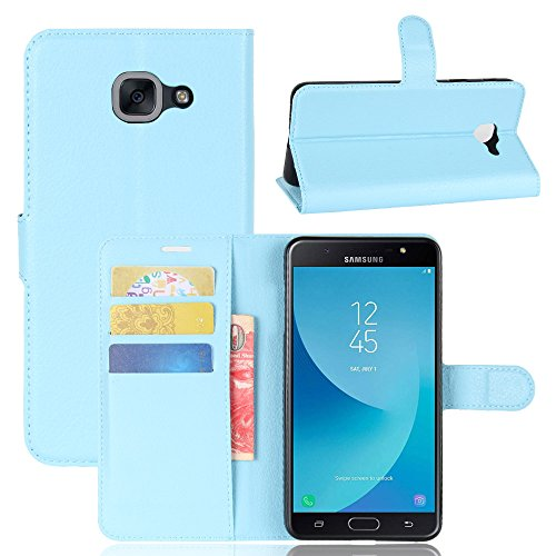 Samsung Galaxy J7 Max SM-G615F Case,Covers Skins Premium PU Leather Wallet Case Skins with Kickstand and Credit Card Slot Cash Holder Flip Cover for Samsung Galaxy J7 Max SM-G615F Blue