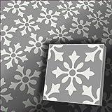 1m² Zementfliesen Flora grau weiß - Handarbeit - Vintage Jugendstil Fliese für Altbau Neubau