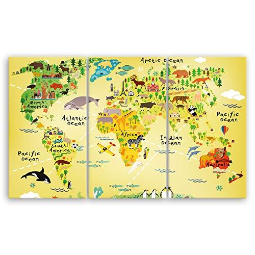 ge Bildet® hochwertiges Leinwandbild - Weltkarte für Kinder - Gelb - 165 x 100 cm mehrteilig (3 teilig)