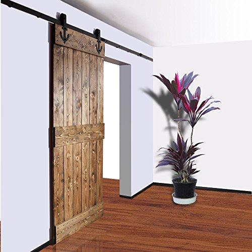 Hahaemall 4 m/4 m Décoration Suspension en acier simple Porte coulissante Armoire de bois de Grange rustique Noir piste Roller matériel à suspendre kit