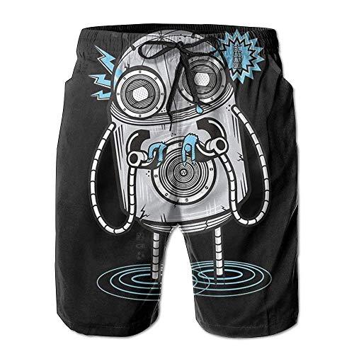 Nicegift Mens Funny Robot Summer Breathable Quick-Drying Swim Trunks Beach Shorts Cargo Shorts Medium Chaps-mens Tie