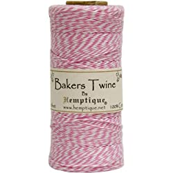 Hemptique Bakers Twine - Bobina de hilo de algodón de fuerza media (125 m, 50 g, grosor aprox. de 1 mm), color rosa y blanco