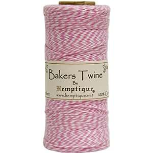 Hemptique Spago Bakers Twine, cotone a 2 capi, resistenza media, 125 m, colori rosa chiaro/bianco