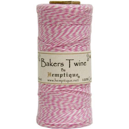 Hemptique Bakers Twine - Bobina de Hilo de algodón de Fuerza Media (125 m, 50 g, Grosor Aprox. de 1 mm), Color Rosa y Blanco