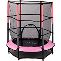 "WestWood 4.5FT 55"" Junior Trampoline With Enclosure Safety Net Kids Child Indoor Outdoor Activity Pink New"