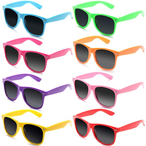 FSMILING 8 Stück Neon Farben Partybrillen Großhandel 80er Jahre Retro Klassisch Promo Sonnenbrille