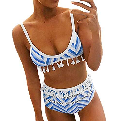 Mypace Mollige Set Push Up High Waist Sportlich Grosse Für Damen Sexy Frauen Striped Quaste Push-Up Gepolsterter BH Strand Bikini Set Badeanzug ()