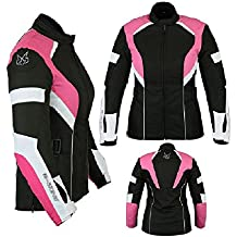 motardzone u chaqueta de motorista para mujer cordura impermeable con para mujer rosa