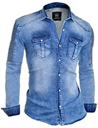 D&R Fashion Men's Thick Ribbed Denim Jeans Shirt with Regular Collar and stylish pockets