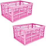 2 x 32L Plastic Folding Storage Container Basket Crate Box Stack Foldable Portable PINK