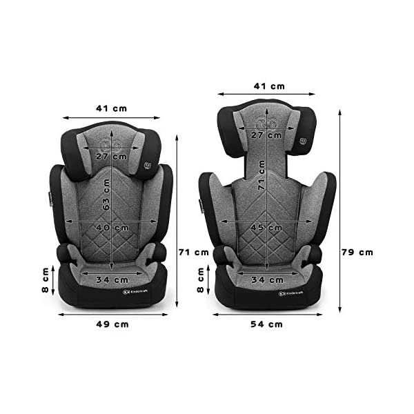Kinderkraft Car Seat XPAND Child's Booster Seat with System ISOFIX Adjustable Headrest Side Protection Group II/III (15-36kg) to 12 Years Crashtested Safety Certificate Intertek and ECE R44/04 Gray kk KinderKraft Car Seat - The Xpand car seat ensures safety during every journey. Secure - Equipped with fixing system ISOFIX, which guarantees a stable and safe position for your child. Alternatively, secure with car seat belts. Comfort - The wide, deep seat provides comfort even during long hours of travel and the headrest adjustment allows parents to adjust the seat to each child. 6