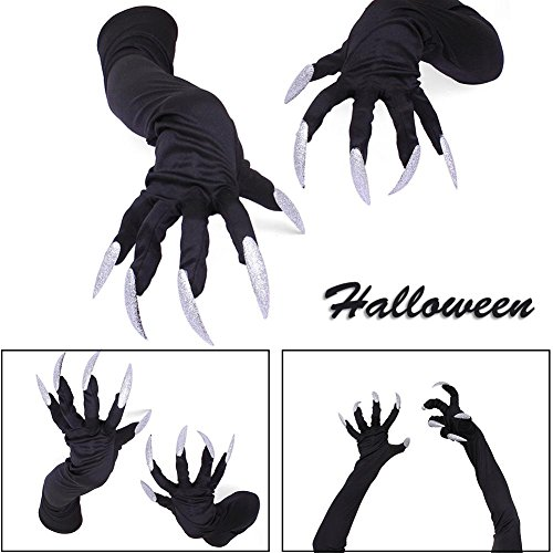 Guanti halloween bianco nails mini divertente puntelli false nail set strega spaventoso gatto per donne uomini fancy costume party cosplay long animal paw claw hand diavolo donna unghie glitter carnevale performa