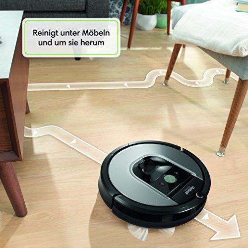 IRobot Roomba 960 Saugroboter (hohe Reinigungsleistung, keine Verhedderungen und mit Dirt Detect, reinigt alle Hartböden und Teppiche, ideal bei Tierhaaren, WLAN-fähig) silber - 7