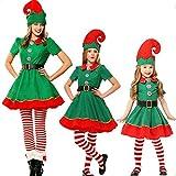 Puimentiua Elfen Kostüm Set Weihnachtskostüm Wichtel Weihnachtself Kostüm Weihnachtspyjamas 90CM-180CM für Damen Herren Kinder