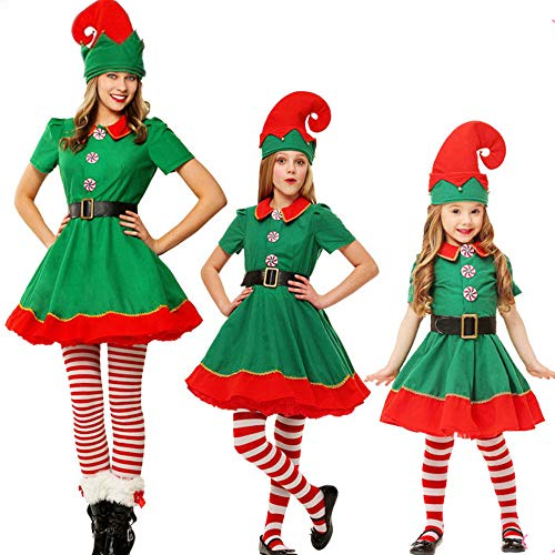 Kostüm Unsere Kein Kultur Ist - Puimentiua Elfen Kostüm Set Weihnachtskostüm Wichtel Weihnachtself Kostüm Weihnachtspyjamas 90CM-180CM für Damen Herren Kinder