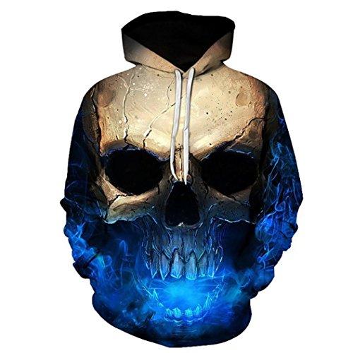 DRESS_start Unisex Plus Size Herbst Winter 3D Printed Skull Pullover Damen Leder Langarm Kapuzen Sweatshirt Tops Sexy Cold Shoulder Bluse Crop Tops Blau S-3XL (XL)