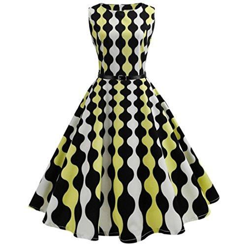 rty Damen Retro Royal Kariertes Muster Prom Swing Kleid Weihnachten Valentinstag Karneval Kostüm(C-Gelb,EU-36-38/CN-M) ()