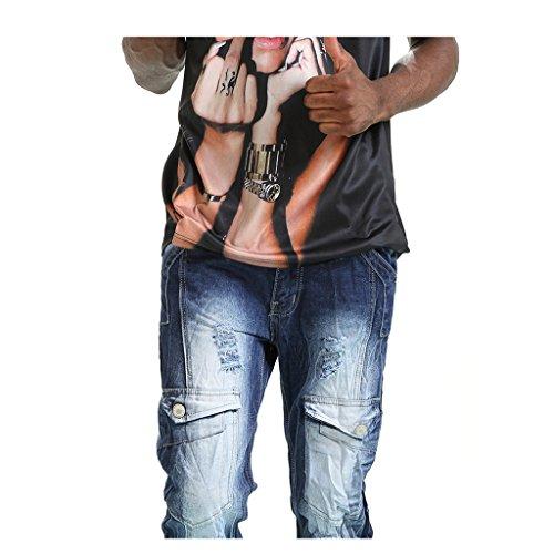 Pizoff Herren Hand Made slim fit asymmetische Einsatz Schwarz Jeans Denim mit Waschung T059