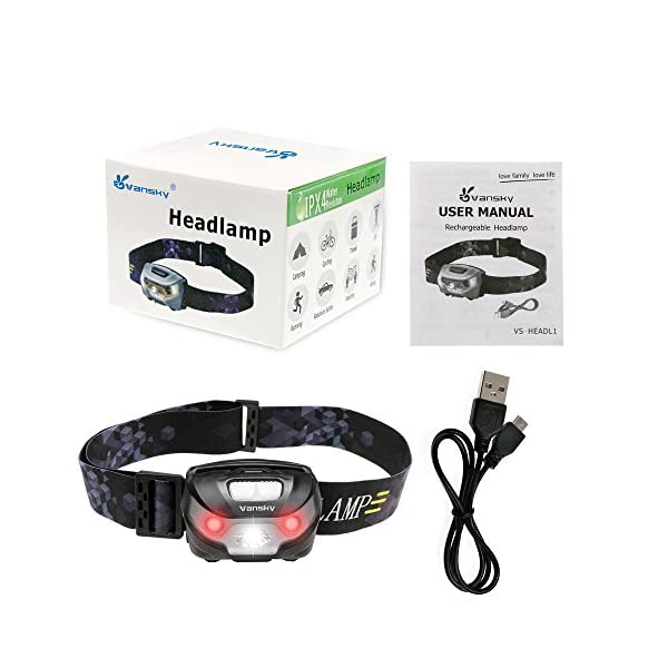 USB Rechargeable LED Head Torch, Vansky Super Bright LED Headlamp, Waterproof Lightweight Hands Free with White & Red Light 5 Modes for Running, Camping, Fishing, Hiking【USB Cable Included】 7