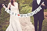 Just Married - Bandierine per matrimonio || Striscione decorazione auto per matrimoni e ricevimenti Bunting Shaped