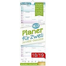 Planer für Zwei 2018/2019 17x42cm, 3 Spalten, Wandkalender 18 Monate Juli 2018-Dezember 2019 - Wandplaner Chäff-Timer, Ferientermine, viele Zusatzinfos