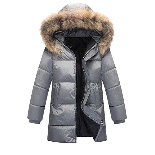 Dr.mama verdickte Winterjacke Kinder Daunenjacke mit Fellkapuze Steppjacke Parka Mantel für Jungen Mädchen