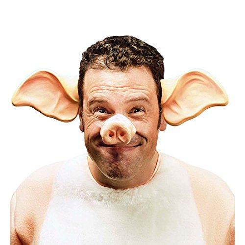 NET TOYS Schweineohren Haarreif Schweinsohren auf Bügel Tierohren Haarreifen Schweine Ohren Ferkel Kopfbügel Tierkostüm Zubehör Kostüm Accessoire