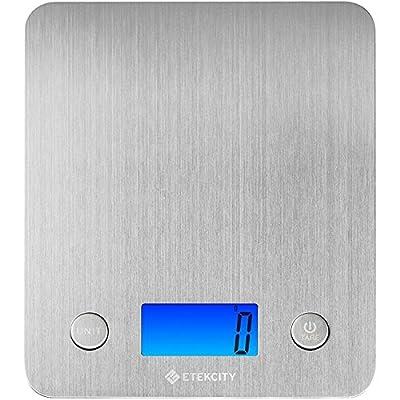 Etekcity Stainless Steel Kitchen Scale, Digital Food Scale with 30% Larger Platform & Backlight Display, 11lb/5kg, Slim Design, Silver
