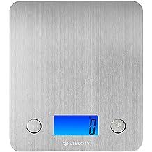 Etekcity Báscula Digital para Cocina, 5 kg / 11 lbs, Plataforma de Acero Inoxidable, con Gran Pantalla LCD e Almohadillas Antideslizantes, Color Plata