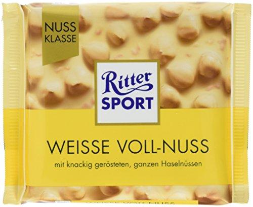 Preisvergleich Produktbild RITTER SPORT Weisse Voll-Nuss (10 x 100 g),  ganze Haselnüsse in weißer Schokolade,  verfeinert mit knusprigen Reis-Crisps und Vanille,  Tafelschokolade