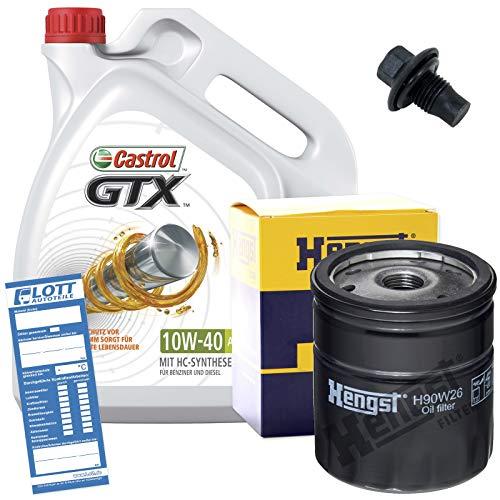 Preisvergleich Produktbild Ölwechsel Set 5 Liter 10W-40 Öl Motoröl CASTROL + Ölfilter + Ablassschraube