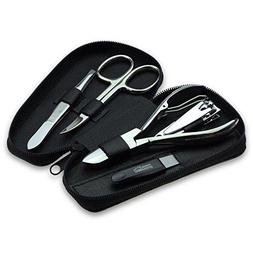 Nagelset 5 teilig - Maniküre Set für Damen & Herren, Nagelfeile aus Solingen, Nageletui aus echtem Leder, geeignet für Hand- & Fußpflege, ideales Reiseset -