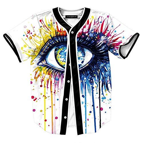 Personnalité Hommes Big Eyes 3D Imprimer Cardigan à Manches Courtes Casual Summer Baseball Shirt Hommes,comme montré,L