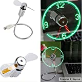 Qingsun Mini USB LED Cool Clock Fan Adjustable Flexible Gooseneck Time Display Cooling Fan for PC Notebook Laptop