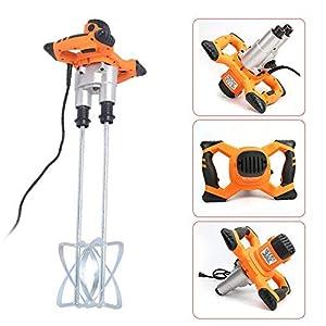 1.4kw Mezclador de Mortero Eléctrico de Doble Varilla, Mezcladores de Pintura de 6 Velocidad, Agitador Eléctrico para Pintura y Argamasa