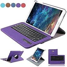 dingrich Tab a 10.1Teclado caso piel sintética, Samsung Galaxy Tab a 25,7cm Smart Folio Stand Cover 360grados. Con Teclado Bluetooth Extraíble giro Flip Carcasa para Galaxy Tab a 10.12016(SM de T580) + Protector de pantalla + Stylus morado Samsung Galaxy Tab A 10.1-Purple