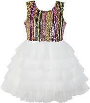 Sunny Fashion Vestido para niña Cumpleaños Princesa Volante Fruncido Pastel Globo Impresión 3-10 años