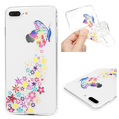 Edauto iPhone 7 Plus Hülle Silikon iPhone 8 Plus Case Ultra Dünn Handyhülle Schutzhülle Transparent Handyschale Handytasche Malen Tasche TPU Durchsichtige Schale Soft Etui Bunter Schmetterling