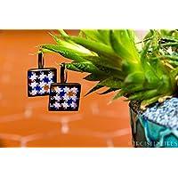 Orecchinicollezione Alhambra - Fotografia sotto resina ecologica - Mosaico Vichy colori - Regalo per lei- 18 mm