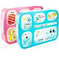 AckMond Bento Box, Mikrowellensichere Brotdose Lunch Box mit 6 separaten Siegelbehältern (2 Stück) preisvergleich bei kinderzimmerdekopreise.eu