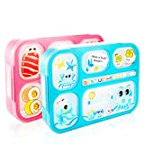 AckMond Bento Box, Mikrowellensichere Brotdose Lunch Box mit 6 separaten Siegelbehältern (2 Stück)