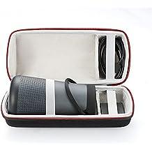 EVA estuche rígido de viaje de viaje que lleva la bolsa de almacenamiento para Bose SoundLink Revolve + altavoz Bluetooth. Compatible con cable USB y cargador de pared-Negro