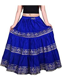 The Jaipur Bazar Blue Gold Printed Long Skirt For Women FreeSize