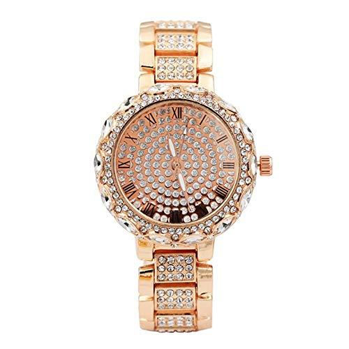 Automatische Uhr Spitze voller Diamanten römischen Skala Edelstahlband Frauen Watche wasserdichte Uhr mit Gold Dial-Rose Gold-1 Größe -
